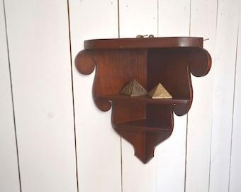 Corner Curio Shelf Vintage 1950s Mid Century Dark Wooden Wave Edge Three Tier Shelf