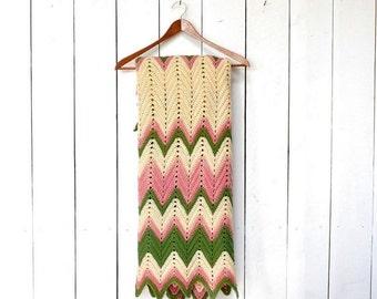 Small Crochet Blanket 1970s Vintage Retro Striped Chevron Throw Green Pink Cream