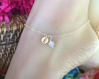 Delicate Sterling Silver monogrammed charm tag anklet with colorful bead. Adjustable up to 10 1/2 inches.  Ankle bracelet