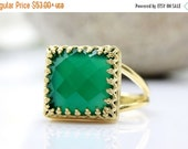 SUMMER SALE - green onyx ring,square gold ring,14k gold fill ring,gemstone ring,green ring,vintage jewelry,bridesmaid gift