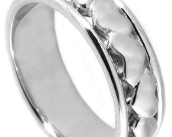 Heart Wedding Band, His Hers Wedding Band, Heart Wedding Ring, Heart Engagement Ring, White Gold Band, Wedding Band For Her And Him,