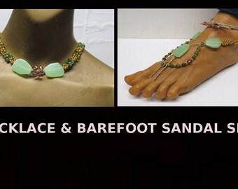 SALE Green, purple, and gold hemp choker necklace and barefoot sandal set!  #HSET-700