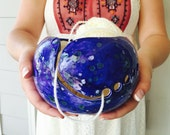 Blue Pottery Yarn Bowl | Yarn Holder | Pottery Bowl | Crochet accessories from my Charleston, SC studio