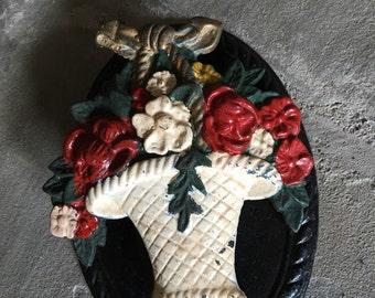 Cast Iron Door Knocker Doorknocker Flower Basket Vintage Metal Black Red White - #5865