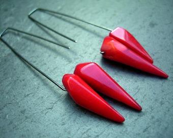 Drop silver, bamboo coral earrings, spike coral hoop earrings, oversized silver earrings - Dancing spikes