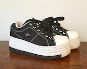 ultra high black 1990s Sketchers platform sneakers US 7/UK 5/EUR 37