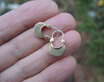 Tiny Bronze Crescent Moon  Hoop Earrings with sterling ear wires