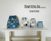 Drawstring Bag {PDF sewing pattern} instant download, sewing, sew, four sizes, bag, project bag, sewing, knitting, sotak patterns, pattern