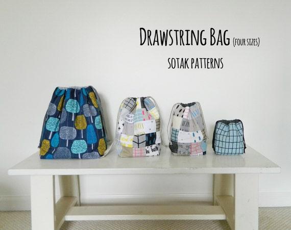 Drawstring Bag {PDF sewing pattern} instant download, sewing, sew, four sizes, bag, project bag, sewing, knitting, sotak patterns, pattern