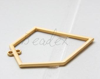 One Piece / Irregular / Pentagon / Matte Gold Plated / Real Gold / Base Metal / Pendant (C112//G660A)