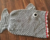 Shark Blanket Cocoon Crochet Made to Order Toddler to Adult