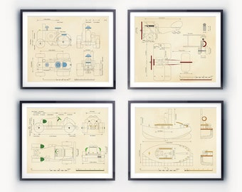 Boys room prints. Transportation blueprint set; Airplane, Tractor, Boat, and Car prints. Art for Boys Rooms or nurseries.