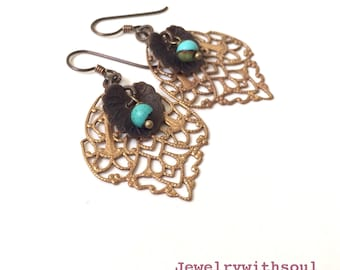 Beaded filigree layered earrings with lacy leaves, brass lilypads, real genuine turquoise beads and hypoallergenic niobium earwires