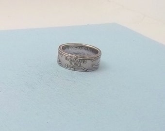 90% Silver Proof coin ring Illinois State quarter year 2003 size 8,  jewelry unique  gift FREE SHIPPING