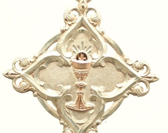 Vintage Sterling Silver & Gold Chalice Art Nouveau Religious Medal Pendant on 18 inch sterling rolo chain