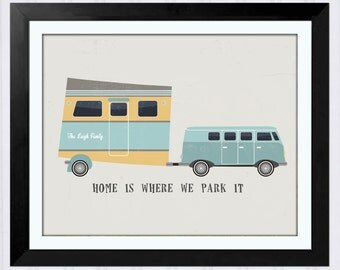 Camper Art Print, Personalized Gift for Her, Vintage Camper, Colorado, Camping Decor, Art for RV, Gift for Parents, Happy Camper