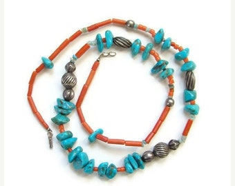 ON SALE Turquoise Nugget Coral Sterling Bead Necklace Southwestern Tribal Style Bohemian Boho Chic