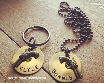 Brass Key Ring and Necklace With Bonnie and Clyde in Simple Block Font