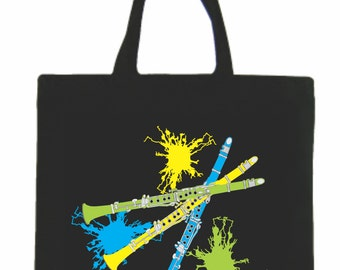 Music Tote Bag, Music, Canvas Tote Bag, Music Teacher Gift, Music Gift, Clarinet Bag, Clarinets, Clarinet Canvas Tote Bag