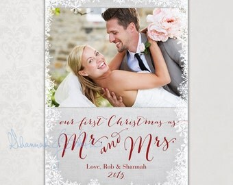 Newlywed's First Christmas • Our First Christmas as Mr. & Mrs. • Print Your Own Photo Christmas Card