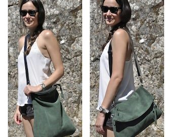 Leather tote bag green leather bag crossbody bag casual bag everyday bag with brown strap and zipper closure