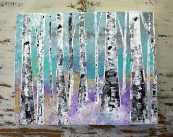 "READY TO SHIP: 16x20 ""Aspen/Birch Tree Painting Teal Textured Original Art by MyImaginationIsYours"