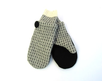 Wool Mittens Fleece Lined Fair Isle Black and Winter White Felted Wool Sweater Mittens