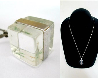 Mid Century Lucite Cube Necklace Vintage Sarah Coventry