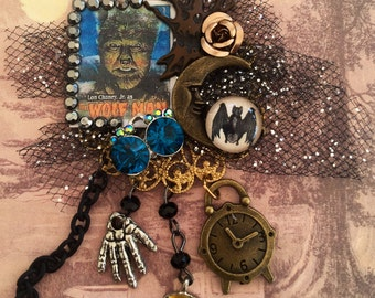 Lon Chaney as WOLFMAN Brooch- Scary MONSTER Collage PIN