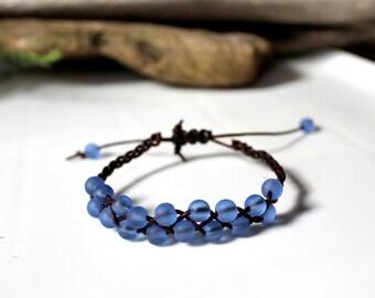 Pale Blue Beachglass Braided Leather Bracelet, Friendship Bracelet, Boho, Stackable