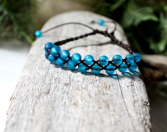 Sky Blue Beachglass Braided Leather Bracelet, Friendship Bracelet, Boho, Stackable