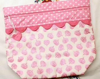 Big Bottom Bag Pink Stitching Queen Crowns  Cross Stitch, Embroidery Project Bag