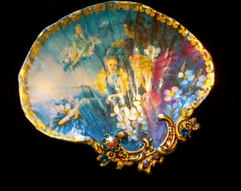 Fairies Shell Jewelry Dish Trinket Dish Ring Dish Shell Art