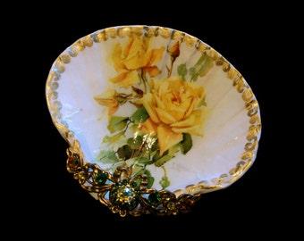 Vintage Roses Medium Shell Jewelry Dish