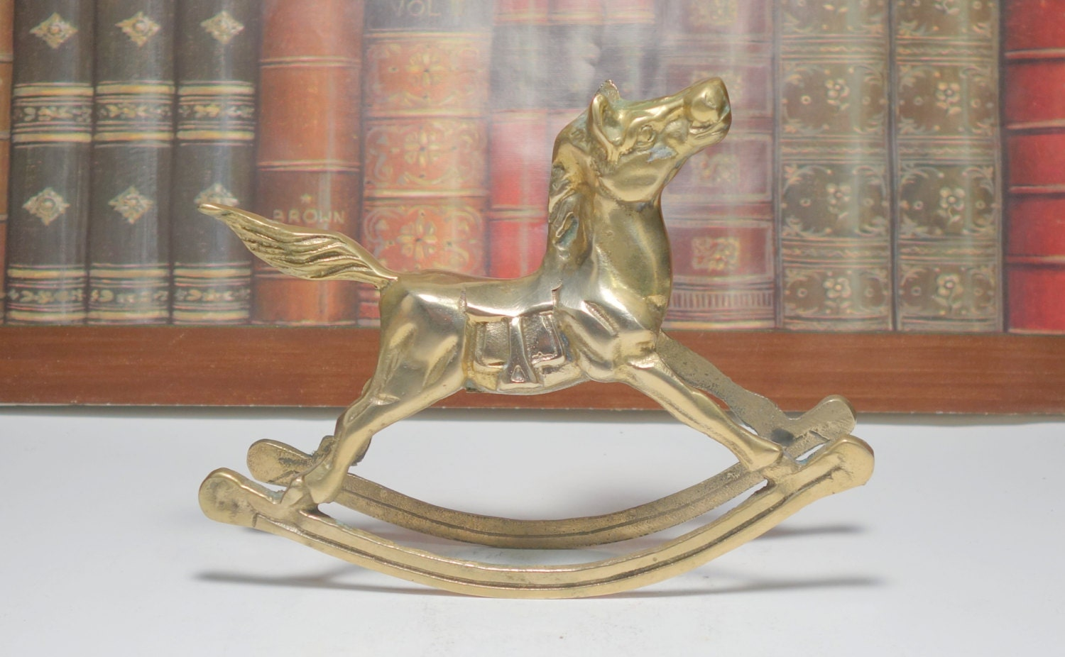 Vintage brass rocking horse home decor childs room decor for Horse decorations for home