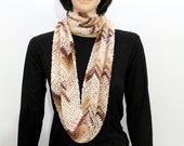 Cream brown Infinity Scarf,  Eternity Scarf, Crocheted Scarf