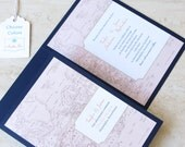 Vintage Wedding Invitation Booklet -  Vintage Map - Destination Travel Theme - Navy Coral Red Teal Purple Gray - Choose Your Colors
