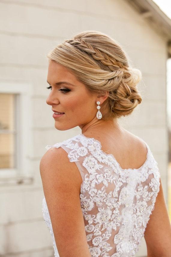 Rose Gold Earrings Wedding earrings Long Bridal by CrystalAvenues