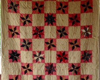 Pretty ANTIQUE VINTAGE STAR Quilt Sweet Calico Fabrics Quilts