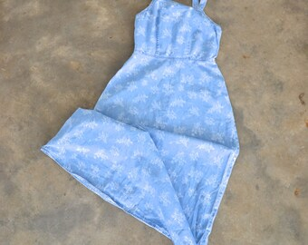 Denim overalls dress with floral pattern size 6 petite