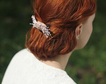 Pearl Hair Comb, Bridal Hair Comb, Pink Hair Comb, Bridal Headpiece, Wedding Headpiece, Pink Hair Accessories, Bridesmaids Gift