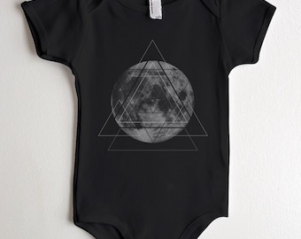 Moon and Geometry Baby Onesie - American Apparel One Piece - Available in 3-6MO, 6-12MO, 12-18MO