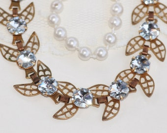 UNIQUE Vintage Brass Leaf Tennis Link Bracelet,Vintage Swarovski Crystal CAL Hexagon Jewel Bracelet,Wedding,Bridal,Something Old,Fall Autumn