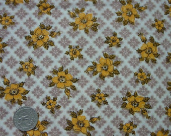 "Vintage Cotton Fabric c.1940's Golden Yellow,Brown Floral Print 36"" Wide, 2 Yards 23"""
