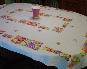 "Vintage Tablecloth, Pretty Fruit, Lovely Colors,Large  51 x 66"","