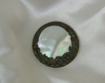 Nice Antique Pearl and Metal Button 1 3/16""