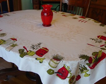 Beautiful Vintage Tablecloth, Kitchen Graphics Lg. 53 x 65""