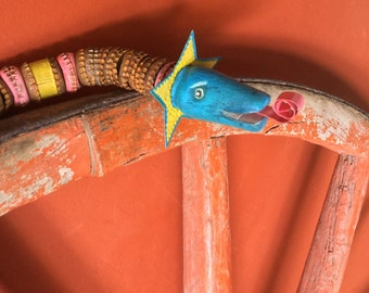 Mira - Circus Star - Colorful Folk Art Bottle cap Snake -  Vintage Wood / Metal  - Cathy DeLeRee