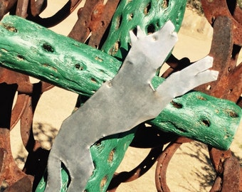 Cholla Wood - WOLF Exvoto - Cross - Sacred works of the High Desert - Turquoise Green-  MilagrO - Original Art / Cathy DeLeRee