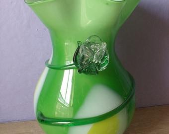 Large Vintage Hand Blown Glass Vase with applied glass rose, Green glass vase, Art glass vase, Glass flower vase, Green White yellow vase